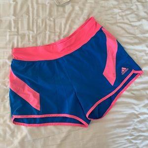 adidas climalite running shorts blue/pink small